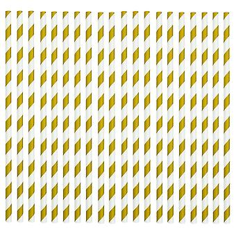 Rink Drink Biodegradable Paper Drinking Straws - Gold and White - Pack of 50
