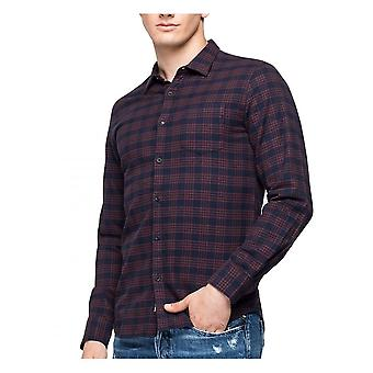 Replay Jeans Replay Check Shirt Geborsteld Katoen Navy