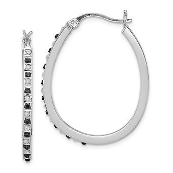 925 Sterling Silver Polished Gift Boxed and Platinum plated B And W Diamond Mystique Pear Hinged Hoop Earrings Zzzzs R J