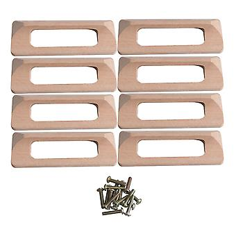 8 Pieces Beech Wooden Handle with Screws for Cabinet Drawer Wardrobe