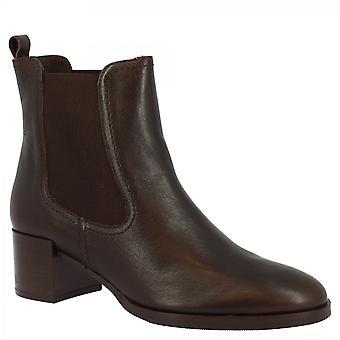 Leonardo Shoes Femmes's handmade round toe carré talons bottines en cuir de veau brun foncé