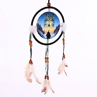 Decorative Cosmic Wolf Spirit in the Sky 16cm Dreamcatcher