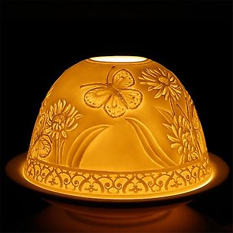 Nordic Lights Candle Shade & Plate - Motyl i kwiat