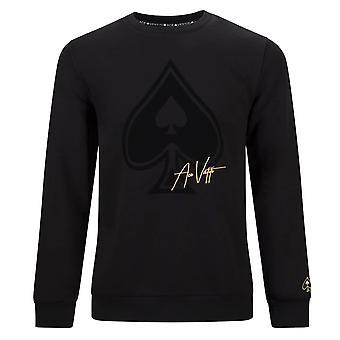 Ass Vestiti | Ats07 Flock Spade Logo Crew Sweat Top - Schwarz/Schwarz