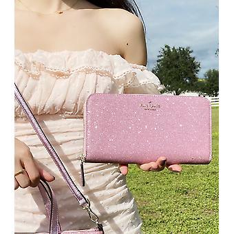 Kate rýľ lola joeley veľký kontinentálny zips peňaženka ružová ružová trblietky