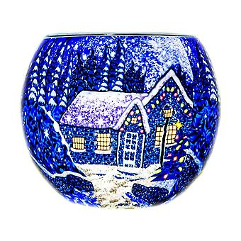 Milford Collection Winter Wonderland Tealight Holder Light Glass