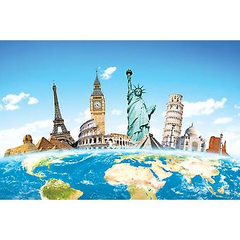 Wallpaper Mural Famous monuments of the world (400x260 cm)