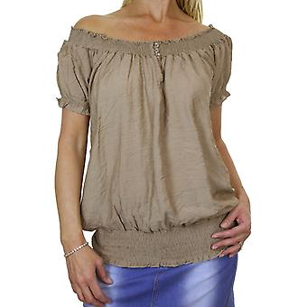 Women's Summer Stretch Off Shoulder Top Ladies Shirred Short Sleeve Elasticated Loose Boho Casual Everyday Beach Tunic Top Beige 8-12