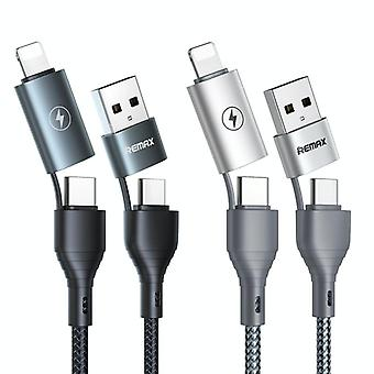 REMAX RC-011 1,2 m 2,4A 4-in-1 USB naar USB-C / Type-Cx2 + 8-pins snellaaddatakabel(Zwart)