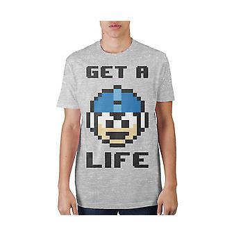 Megaman Capcom obter uma vida atlética heather cinza pescoço impressão t-shirt
