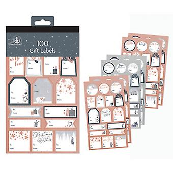 Festive Wonderland Contemporary Foil Adhesive Christmas Gift Labels (Pack Of 100)