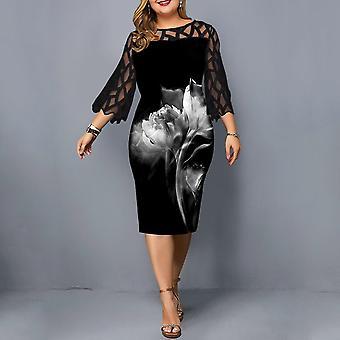 Midi Ladies Floral Dress, Mesh Elegant Women Wedding Party, Sleeve Summer,
