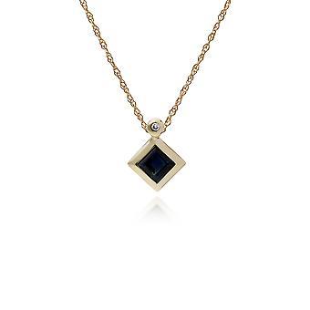 Geometric Square Sapphire & Diamond Pendant Necklace in 9ct Yellow Gold 135P1584039
