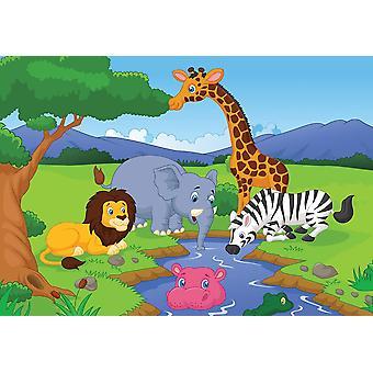 Fondo de pantalla Mural Dibujos animados Savannah Paisaje