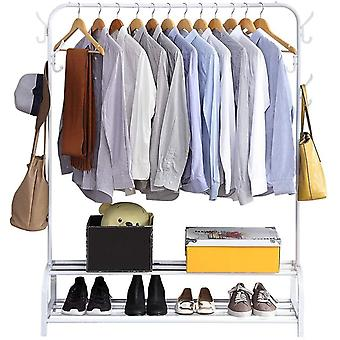 GISSAR Clothing Rails Garment Rack with Shelves, Metal Cloth Hanger Rail Stand Clothes Drying Rack