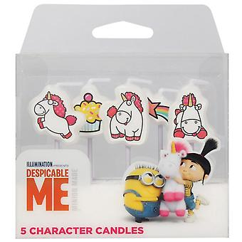 Despicable Me - 5 Minion Fluffy Character Candles Pack
