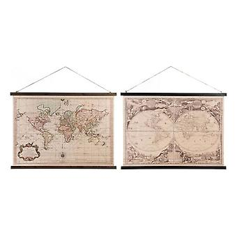 Canvas Dekodonia Vintage World Map (105 x 2 x 65 cm) (2 pcs)
