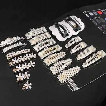Dámské módní ručně vyráběné perly květinový klip na vlasy