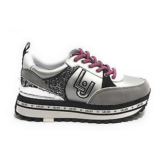 Shoes Sneaker Liu-jo Maxi Wonder In Suede/ Satin Grey Woman Ds21lj03