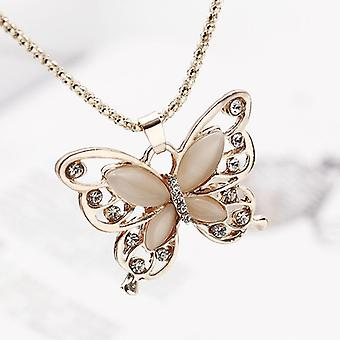 Lady Butterfly Pulover Colier Rose Gold
