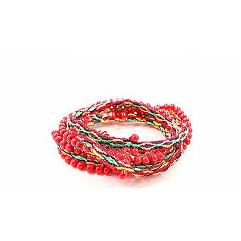 Handwoven, Ruby Red Beaded, Bright Green Hued, Wrap Bracelets