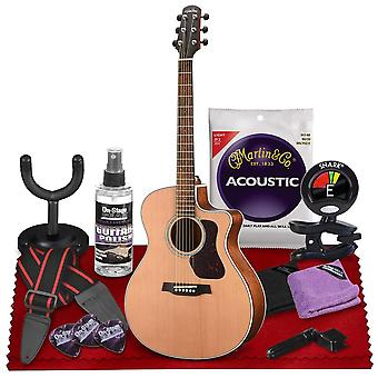 Walden g770ce natura all-solid cedar-mahogany cutaway-electric guitar  with gig bag, strap, strings, tuner, and more perfect for musicians