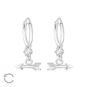 Arrow With Genuine European Crystal - 925 Sterling Silver Earrings - W32870x