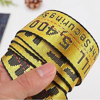 2PCSMen Vyšívací dopis Tkané pasy Moderní dlouhé kalhoty Doplňky, Délka pásu: 140cm (žlutá)