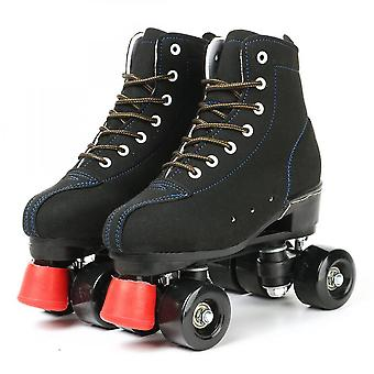 Cowhide Flash Wheels Shoes, Double Line Skates