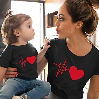 Love Heartbeat Puuvilla Perhe Yhteensopivat vaatteet, Baby Mama Tshirt