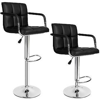 tectake Sæt med 2 barstole med armlæn - sort