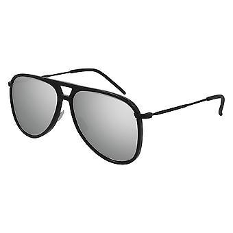 Saint Laurent Classic 11 RIM 002 Black/Silver Mirror Sunglasses