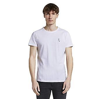 Tom Tailor Rundhals Camiseta, 20000/Blanco, XL Masculino