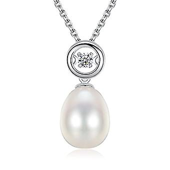GemShadow woman, in sterling 925 silver, with cubic zirconia 8 - 9 mm necklace of freshwater pearls grown