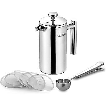 FengChun , Edelstahl Kaffeebereiter, 0,35 L, Kaffeepresse für 2 Tassen, Doppelwandig, Cafetiere