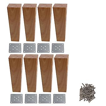 8pcs Right Angle Trapezoid Furniture Cabinets Legs Wooden Color 4x6x18cm