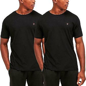 Farah Mens Dani 2 Pack Casual Cotton Crew Neck Lounge Camiseta Top Tee - Negro