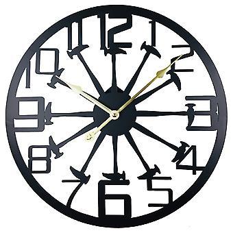 Black Metal Marteau Découpé Horloge Murale 40cm