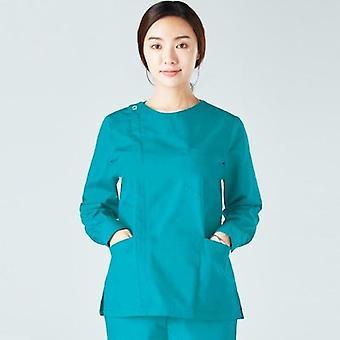 Las mujeres scrub top manga larga ropa de trabajo de algodón cremallera abrigo grandes bolsillos enfermería