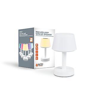 DUTCH ORIGINALS Bluetooth LED Lampe mit 7 LED Farben, LED Nachttischlampe mit Bluetooth Lautsprecher & Mikrofon, Retro Schreibtischlampe in weiß