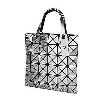 Holografisk geometrisk tyghandväskaväska för kvinnor (silver)