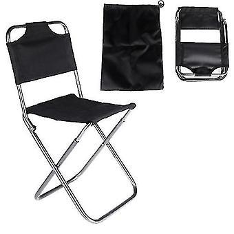 Chaises pliantes tabourets portables pliant aluminium oxford cloth chaise de pêche en plein air camping avec dossier porter sac noir