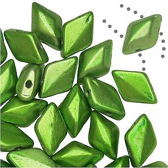 التشيكية زجاج GemDuo، 2-حفرة الماس على شكل حبات 8x5mm، 8 غرام، ميتالوست أبل الأخضر
