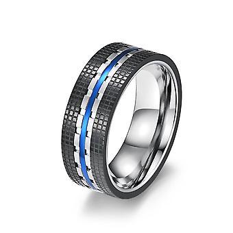 (Blauw-11) Vintage heren womens roestvrij staal check patroon tweekleurige ring