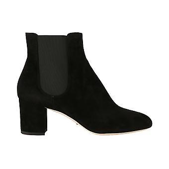 أسود جلد الغزال تشيلسي أحذية الأحذية الكعب