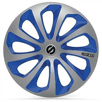 4 wiel trims 13 inch Sicilia zilver en blauw
