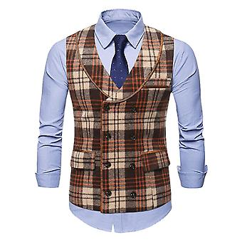 Silktaa Men's Business Casual Lapel Check Double-breasted Stitching Vest
