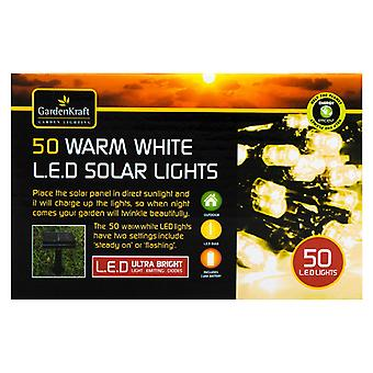 50 Bright White Solar Powered Outdoor LED String Lights
