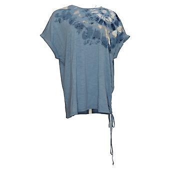 DG2 By Diane Gilman Damen Top Krawatte Farbe Side Tie T-Shirt Blau 698338