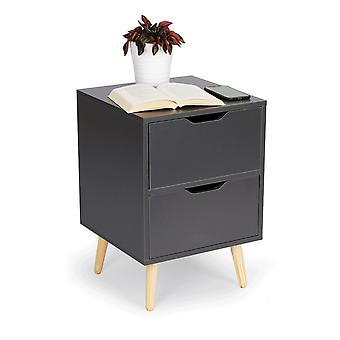 Yöpöytä harmaa - 2 laatikkoa - 58x40x40 cm